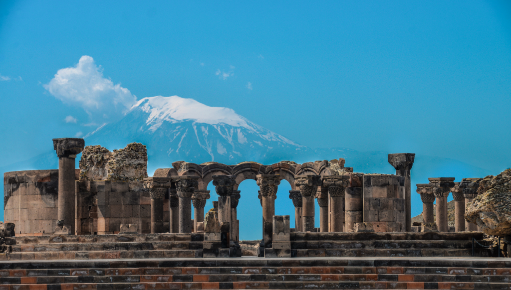Mount Ararat viewed over the ruins of Zvarnots Cathedral, Armenia